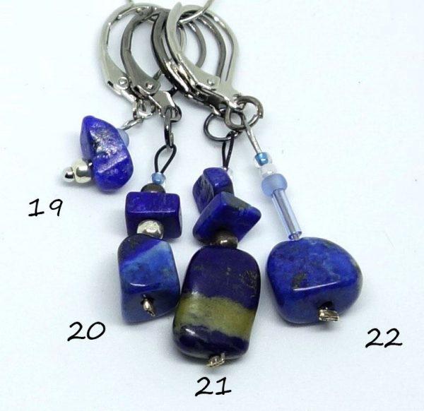 Anneaux marqueurs de maille avec dormeuse. Lapis lazuli 19-20-21-22