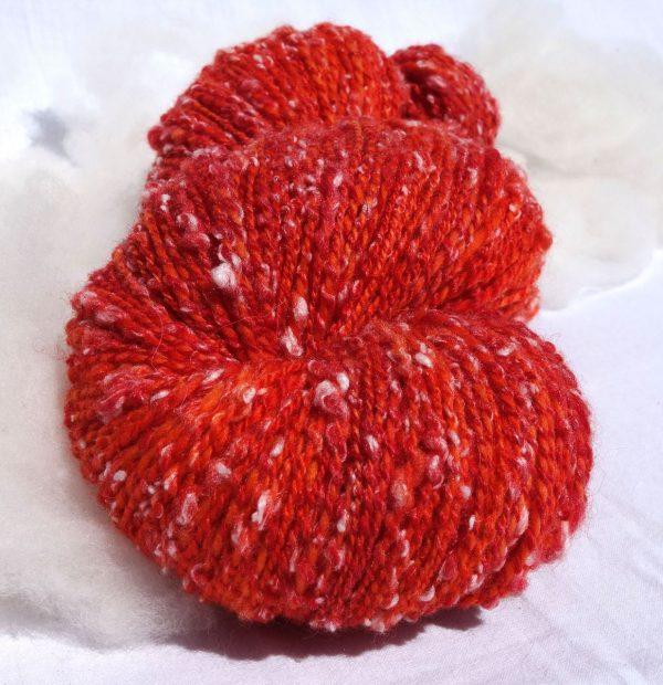 Laine mérinos tweedée rouge orangée. Teinture écoresponsable sans métaux lourds. 1334-1335
