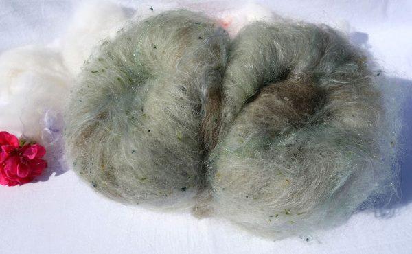 Laine cardée mérinos tweed, mohair, texel, protéine de lait, glitz. 1288